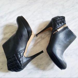 Vince Camuto Black Leather Zip Booties Evgenia